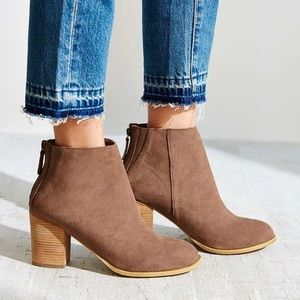 Urban Outfitters Taupe Suede Ankle Booties Size 9